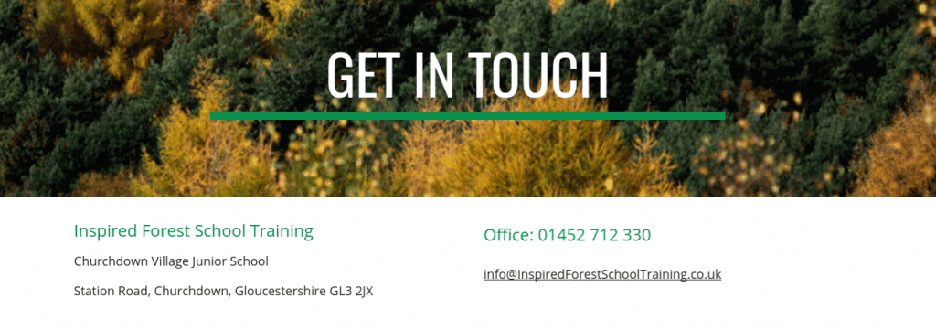 contact us at Inspired Forest School Training
